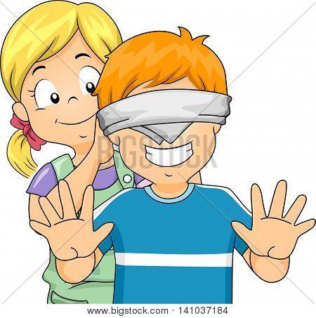 Illustration of a Little Girl Blindfolding a Little Boy