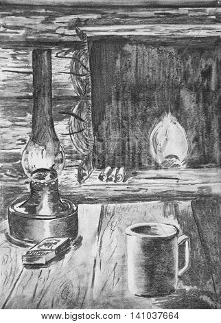 A kerosene lamp on the table in the dugouts. Charcoal drawing