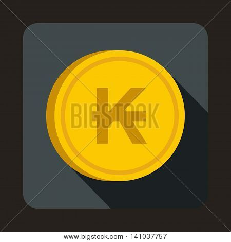 Coin Lao Kip icon in flat style with long shadow. Monetary currency symbol