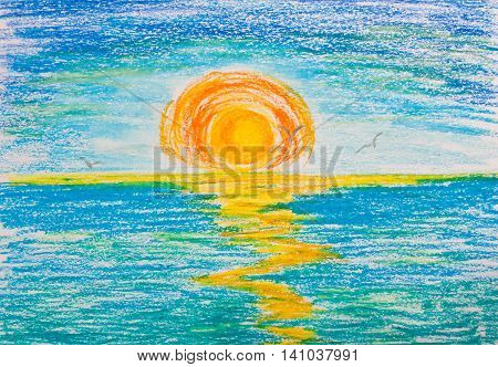 Sunset on the sea with seagulls. Drawing with crayons