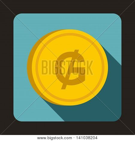 Coin Guarani icon in flat style with long shadow. Monetary currency symbol