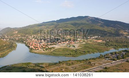 View of Mtskheta, the confluence of the Mtkvari and Aragvi