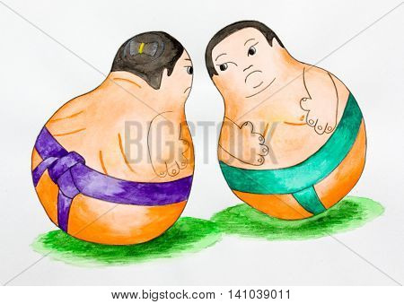 Two fat sumo wrestler before a fight. Cartoon. Watercolor