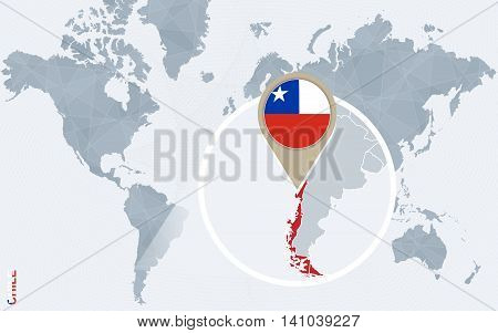 Abstract Blue World Map With Magnified Chile.