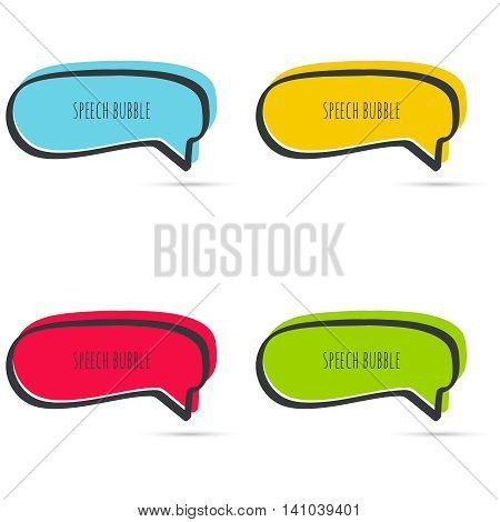 Set hand drawn speech bubbles. Vector frame. Text box. Multicolor, red, blue green yellow