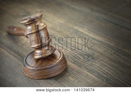 Judges Or Auctioneer Wooden Gavel Or Hammer On Wooden Table