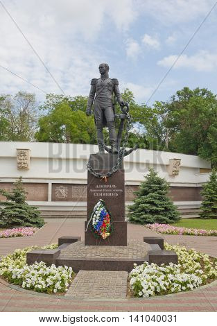 CRIMEA,SEVASTOPOL - JUNE 13, 2014:The monument to Admiral Sinyavin in the center of Sevastopol