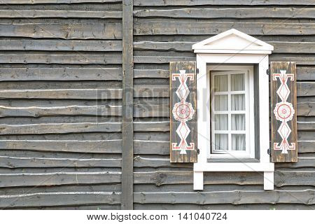 Wooden House Wall In Vintage Modern Rustic Style With Window