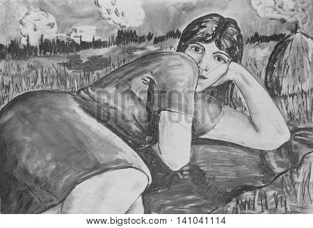 Charcoal drawing on paper. Portrait of a beautiful girl
