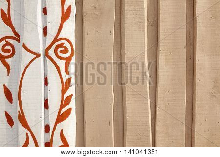 Beige Rough Rustic Barn Wooden Wall With Abstract Floral Pattern