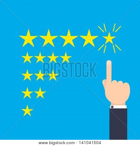 Customer positive review design template. Rating evaluation vector symbol. Five star business icon. Male hand pointing to five stars. Likes, approval, positive feedback sign.
