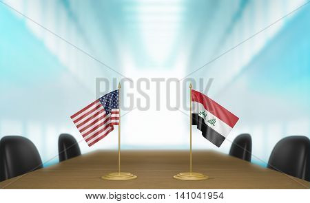 United States and Iraq relations and trade deal talks, 3D rendering
