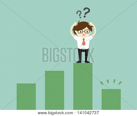 Business concept, Businessman is confused because the chart going down. Vector illustration.