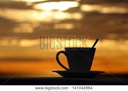 Cup Of Espresso Silhouette With Brazilian Coffee In Sunlight And Vibrant Sunset