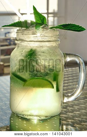 Misted Glass Mason Jar With Mojito Cocktail, Popular Summer Drink