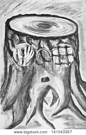 Charcoal drawing on paper. Allegory of Stalin's repressions