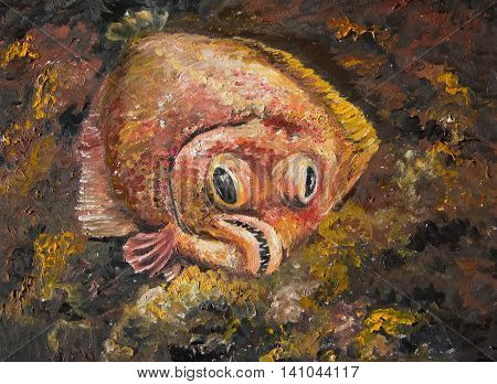 Flounder is lying on the seabed waiting for prey. Painting poster