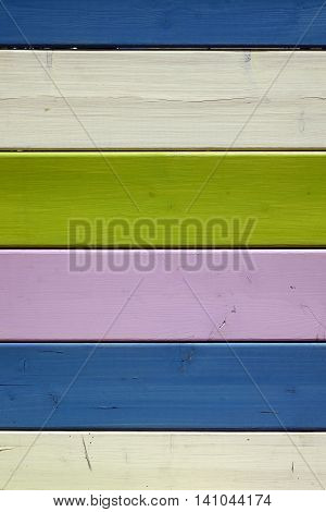 Vintage Colorful Vertical Wood Picnic Table Top Background Or Texture
