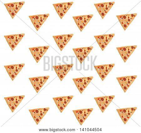 Pattern with pizza slice. Italian pizza slice.