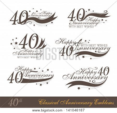 Anniversary 40th sign collection in classic style. Template of anniversary birthday and jubilee emblems with number editable and copy space on the ribbons.