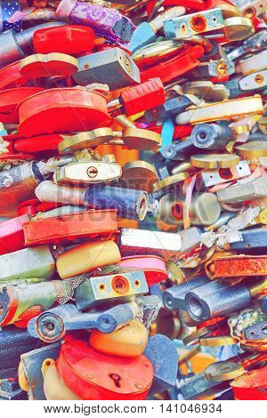 Love Heart Locks. Many Colorful Padlocks Tree Background