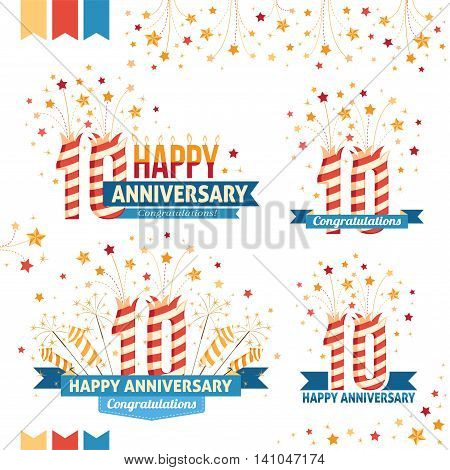 Anniversary 10th emblems with fireworks numbers sparklers and ribbons with congratulations. Set of 10th anniversary design elements.