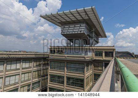 Turin, Italy - 25 May, 2016: Roof of Lingotto Building and Renzo Paino Building of the former Fiat factory in Turin Italy.