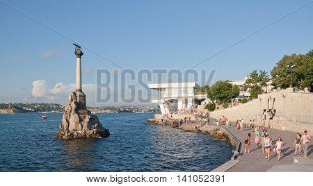 CRIMEA, SEVASTOPOL, JUNE 13, 2014:Monument to the scuttled ships . Sevastopol, Crimea