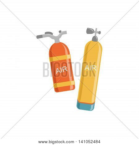 Two Types Of Air Tanks For Diving Bright Color Cartoon Simple Style Flat Vector Illustration Isolated On White Background