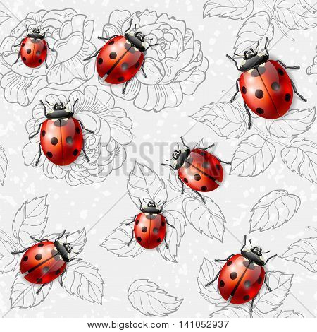 Seamless texture with flowers leaves and ladybugs vector