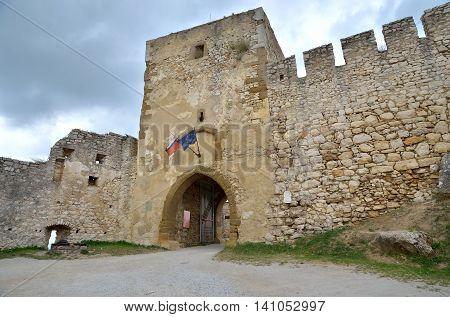 SPISSKY HRAD SLOVAKIA - AUGUST 18 2015: Entrance to the castle ruins Spissky Hrad Slovakia.