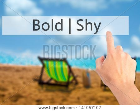 Bold Shy - Hand Pressing A Button On Blurred Background Concept On Visual Screen.