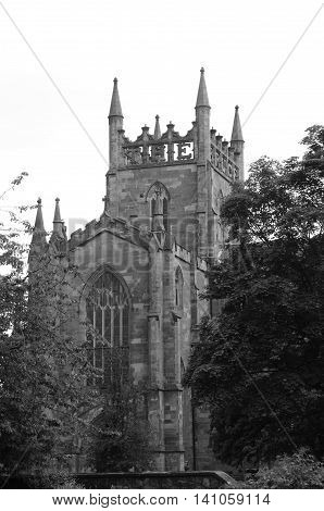 A view of the abbey church tower in Dunfermline