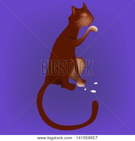 Brown cat licking milk from the paw illustration