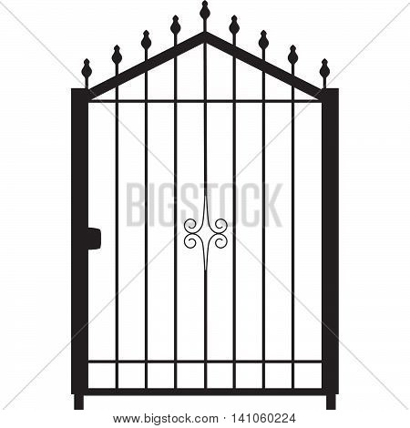 gate for the outdoor for private house silhouette vector