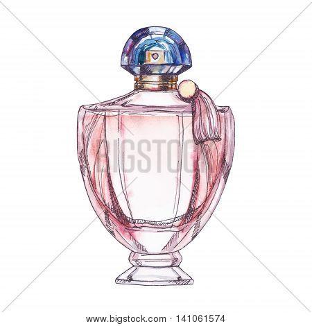 Perfume bottle isolated on white background watercolor illustration