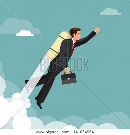 Ahead concept, man is victoriously flying with the rocket ahead of all rivals, colorful vector flat illustration