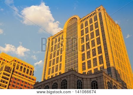 BOSTON,MASSACHUSETTS,USA - JULY 4,2016: Five Hundred Boylston Building in Boston Massachusetts. This building in the Back Bay in known as the headquarters of the fictional Crane Poole & Schmidt law firm from the TV show Boston Legal.