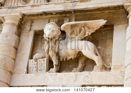 The Lion of Saint Mark on the Landward gate in Zadar. Zadar is a city in Croatia, the historical center of Dalmatia.