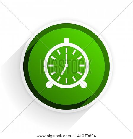 alarm flat icon with shadow on white background, green modern design web element