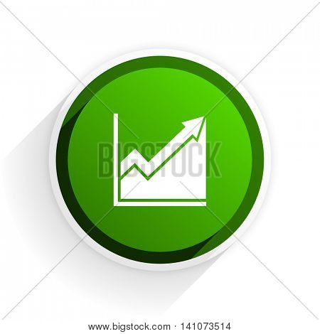 histogram flat icon with shadow on white background, green modern design web element