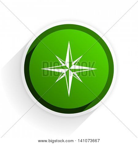 compass flat icon with shadow on white background, green modern design web element