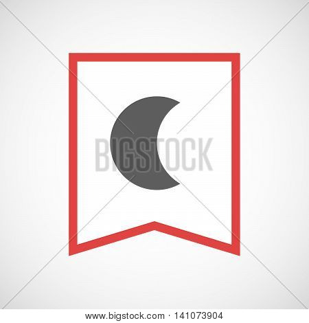 Isolated Line Art Ribbon Icon With A Moon