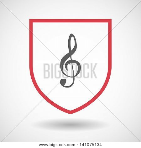Isolated Line Art Shield Icon With A G Clef