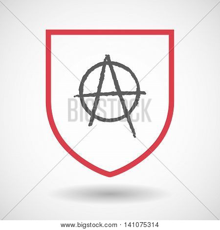 Isolated Line Art Shield Icon With An Anarchy Sign
