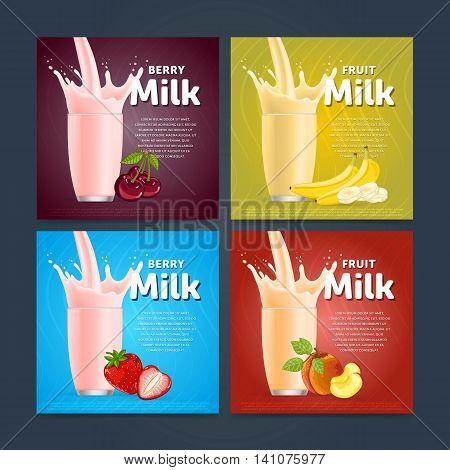 Banners of fruit mix sweet milkshake dessert cocktail glass fresh drink in cartoon vector illustration. Fruit milk splash. Milk cocktail dessert. Delicious drink. Glass of fruit milkshake. Sweet milk drink. Milk splash in a glass. Milkshake.