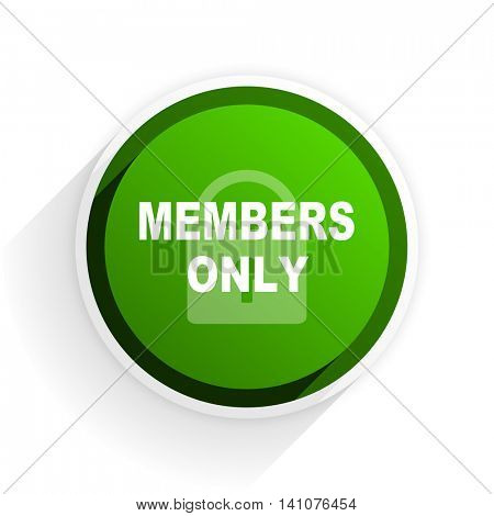 members only flat icon with shadow on white background, green modern design web element