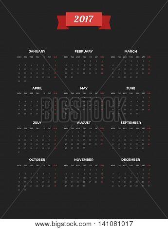 Bright Modern black vertical Calendar for 2017. Week Starts Monday. Crear design Vector illustration.
