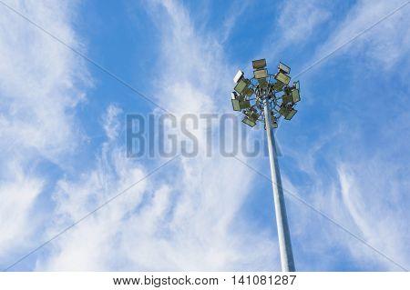 close up Pillar spotlights high on the sky
