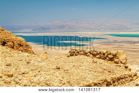 Ruins of Masada fortress and Dead Sea - Israel